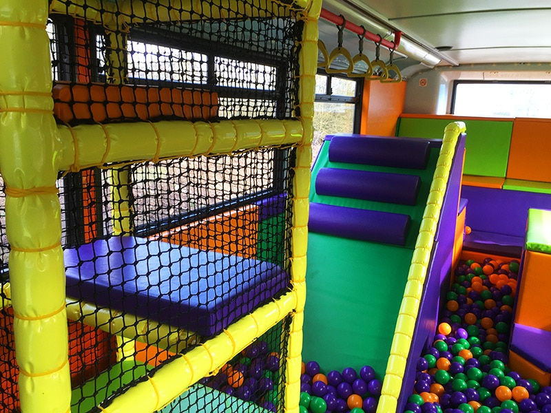 Kids party bus ball pit
